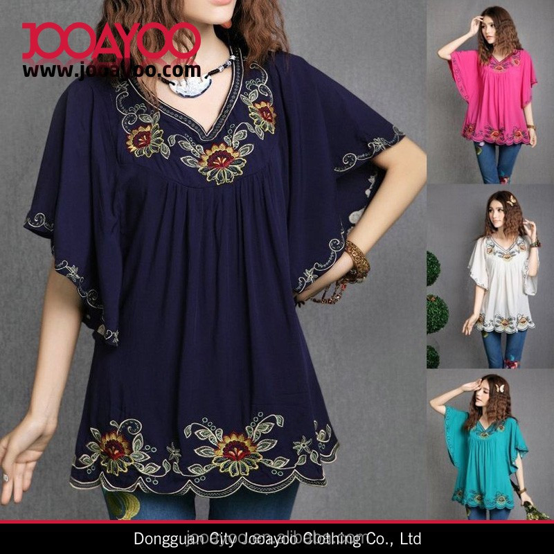 Latest Lady Fashion Hippie Top Blouse Boho Dress Embroidered Casual Blue Embroidered Dresses