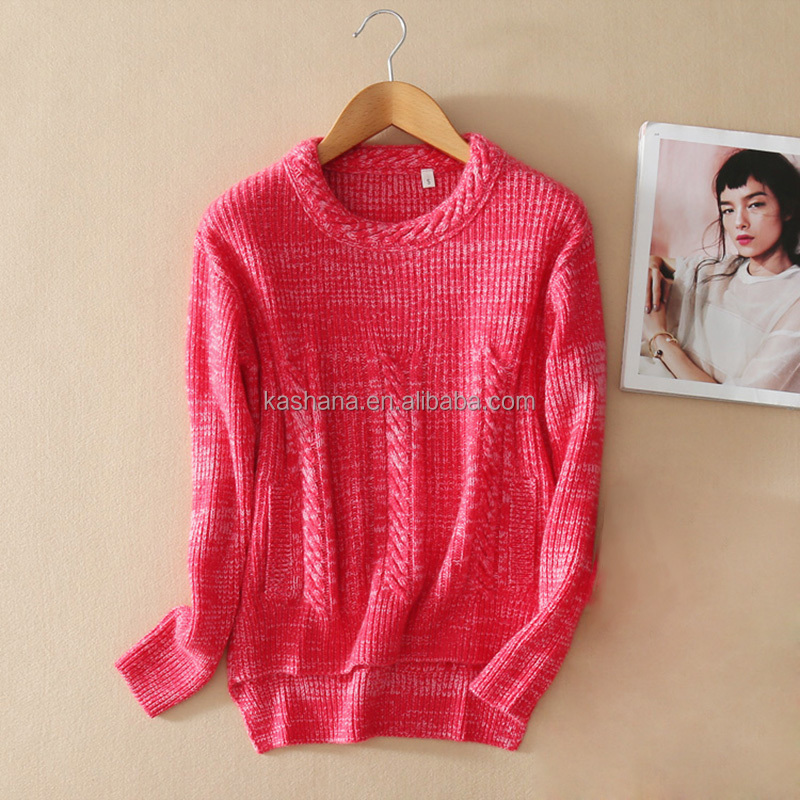 European 2016 fashion irregular hem design winter Christmas women's pullover 100% cashmere sweater