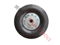 200mm cushioned solid rubber heavy duty 8 inch 8X2.5 wheel on a pressed steel centre with bearings