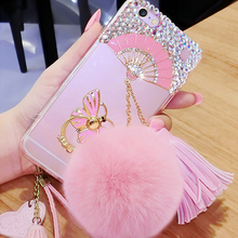 Cute Rhinestone Chinese Fans metal hang rope phone fur case for samsung galaxy s3,for samsung galaxy s7 silicon soft case