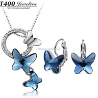 T400 2015 butterfly trendy jewelry sets Made with Swarovski Elements Necklace/Earrings for women #S004