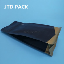 Qingdao JTD Manufacturer Supplies Wholesale Custom Printed Foil Lined Matte Finished Black Coffee Bean Packaging Pouch Bags