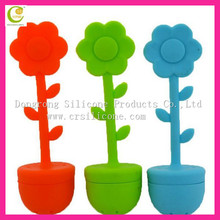 low price flower pot shape silicone tea strainer with factory price
