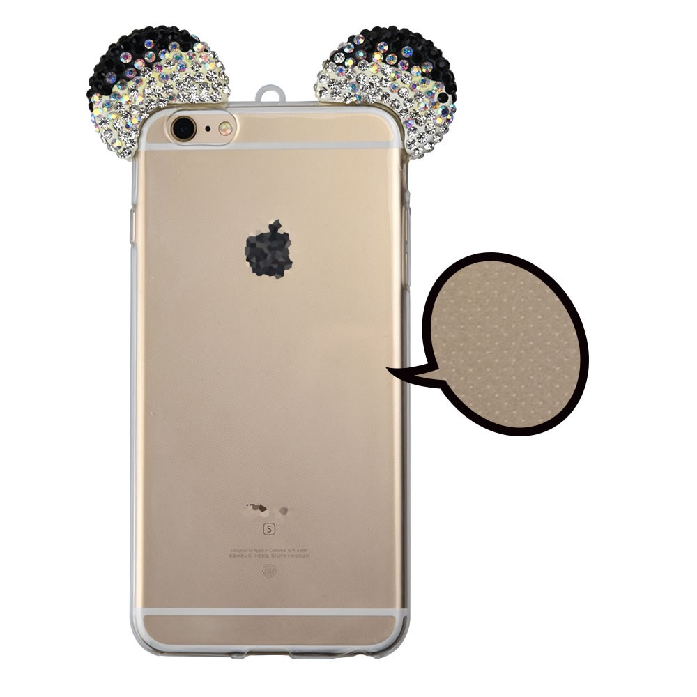 C&T Rabbit Bunny Ear 3D Handmade Crystal Rhinestone Bling Case Cover TPU soft Case Clear for iPhone 6/iPhone 6s 4.7inch