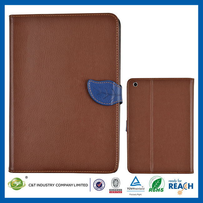 C&T New style back cover pu folio stand flip case for ipad mini 3