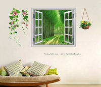 Outside window scene design vinyle wall sticker for home decoration