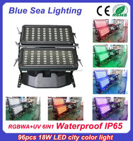 96pcs 18w rgbwauv 6 in 1 DMX IP65 led wall washer light