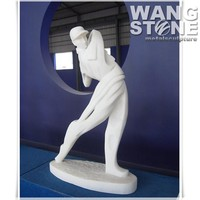 White Marble Life Size Golf Garden Statue