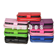 PU Leather Flip Cover Wrist Handbag Wallet Pouch Credit Card Holder Cases for iPhone 4 4S with Magnetic Flap Closure