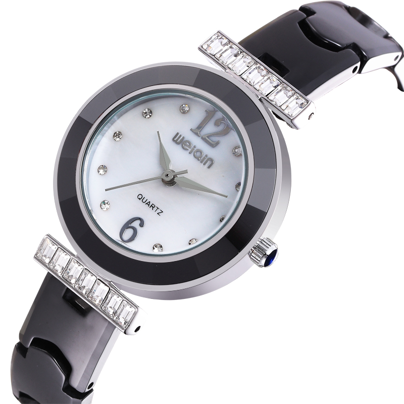 WEIQIN W3205 hot selling stones decorated black ceramic watch women