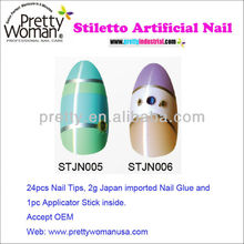Summer Color Nail Art Acrylic Nail Designs French Tips with 3D Diamond Accessories