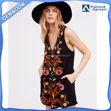 Folk Song spaghetti sleeveless embroidered black ladies fancy cocktail women night mini dress sexy fashion names wholesale oem