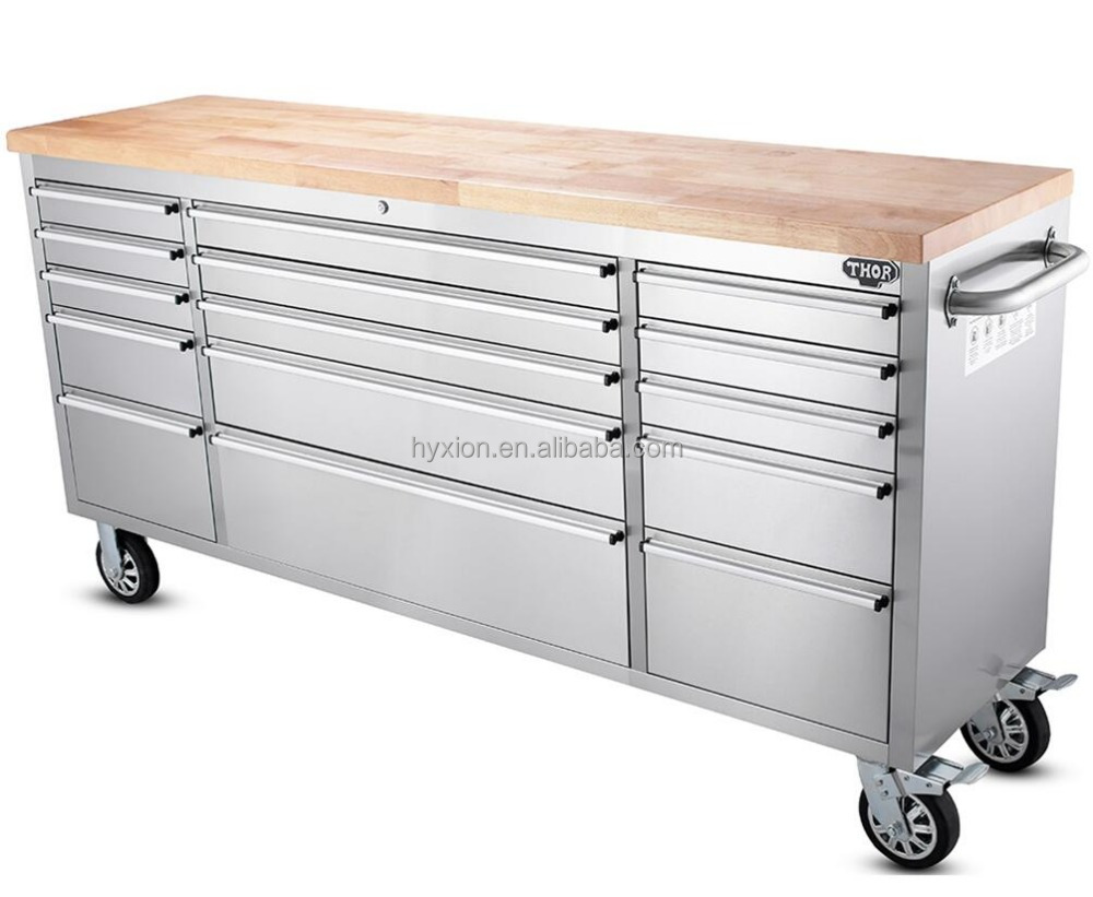 "Thor stainless steel 72"" workbench with drawers and wood top"