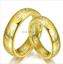 Factory price wholesale 316 stainless steel gold scripture ring for couples