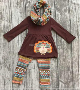 Children Clothes Set Fall Boutique Turkey Print Clothing Wholesale Baby Girls Thanksgiving Outfits