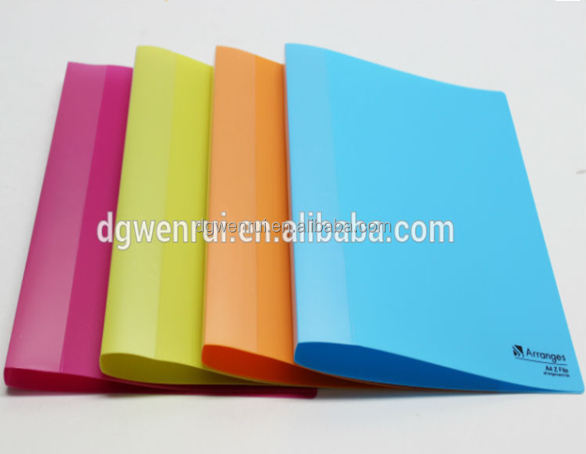 Promotional A4 PP spring metal clip file with the fresh cover