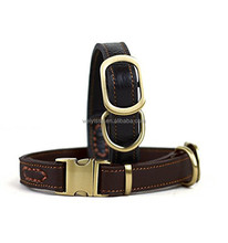 Low price embroidered leather dog training collar with buckle
