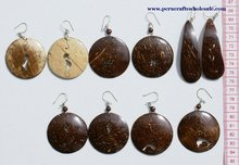 Brown Hand Carved Round Coco Coconut Earrings Peruvian Jewelry