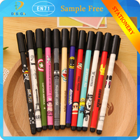 Korean style free samples Lovely printing 0.38mm Diamond writing point black ink cartoon gel pens for school supply