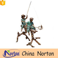 life size bronze fishing boy girl garden statue NTBH-C876S