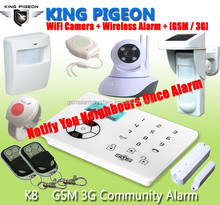 GSM Alarm System with CE FCC Rohs App,GSM Auto Dial Alarm System,GSM SMS Wireless Intelligent Alarm System K8
