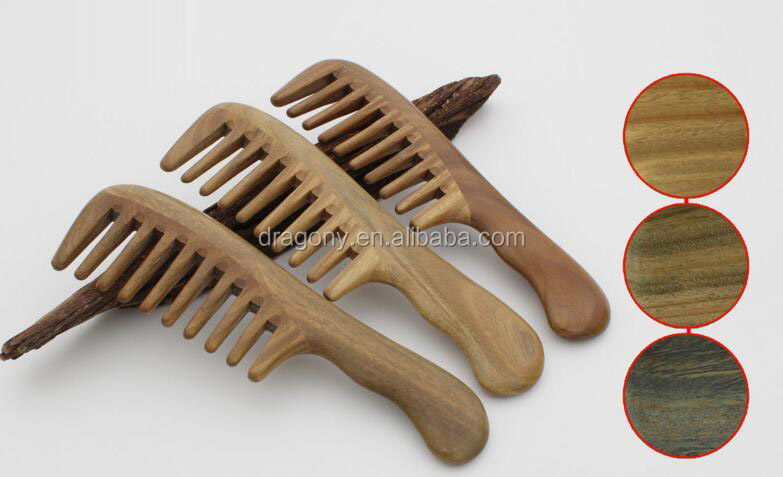 Handicraft Wooden Handle Hair Combs Wide Tooth Comb Anti-Static