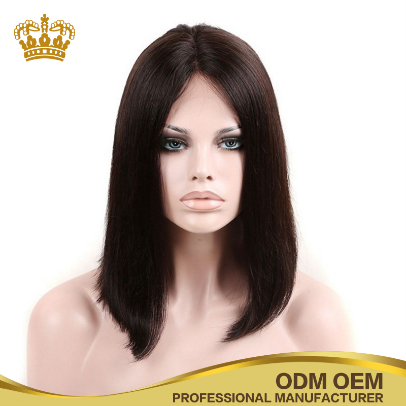 100 Indian hair straight short cut BOB style lace front human hair wig for black women