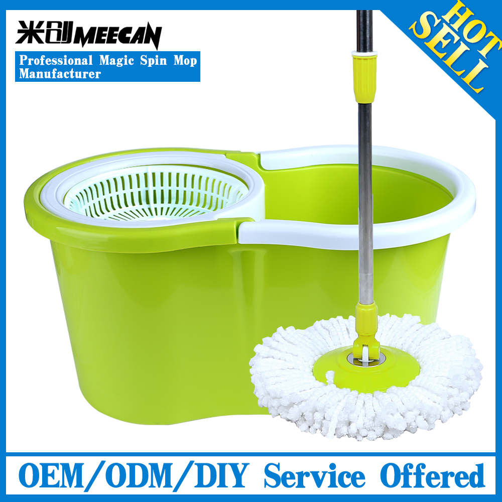 Green 360 Cleaning Magic Spin Mop with Eco-Friendly Plastic Bucket, Floor Cleaning Flat Microfiber Magic Mop As Seen On TV