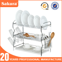 3 TIER CHROME WIRE DISH RACK PLATE DRYING RACK /PLASTIC TRAY FOR KITCHEN RACK,