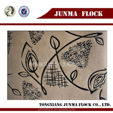 Sandy and black leaf design Chinese Junma flocked print fabric for sofa sets