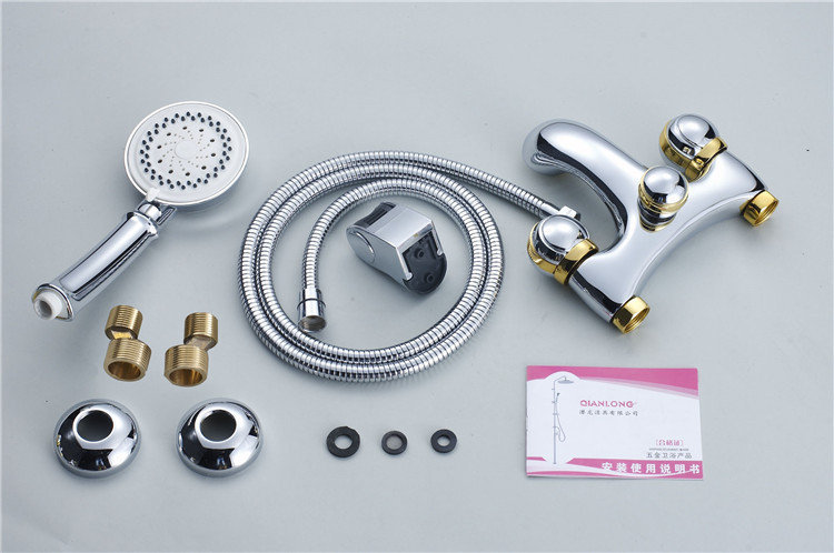 QL-0750G artistic gold brass bathroom bath and shower faucet