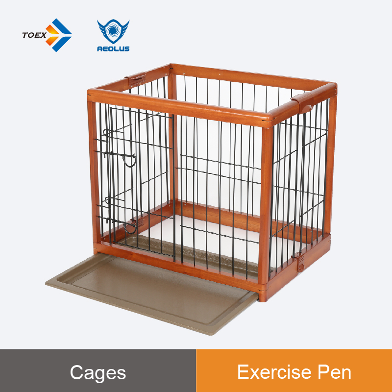 EPW - S Rubber wood foldable pet cage animal iron fence dog kennel metal wire pet cage