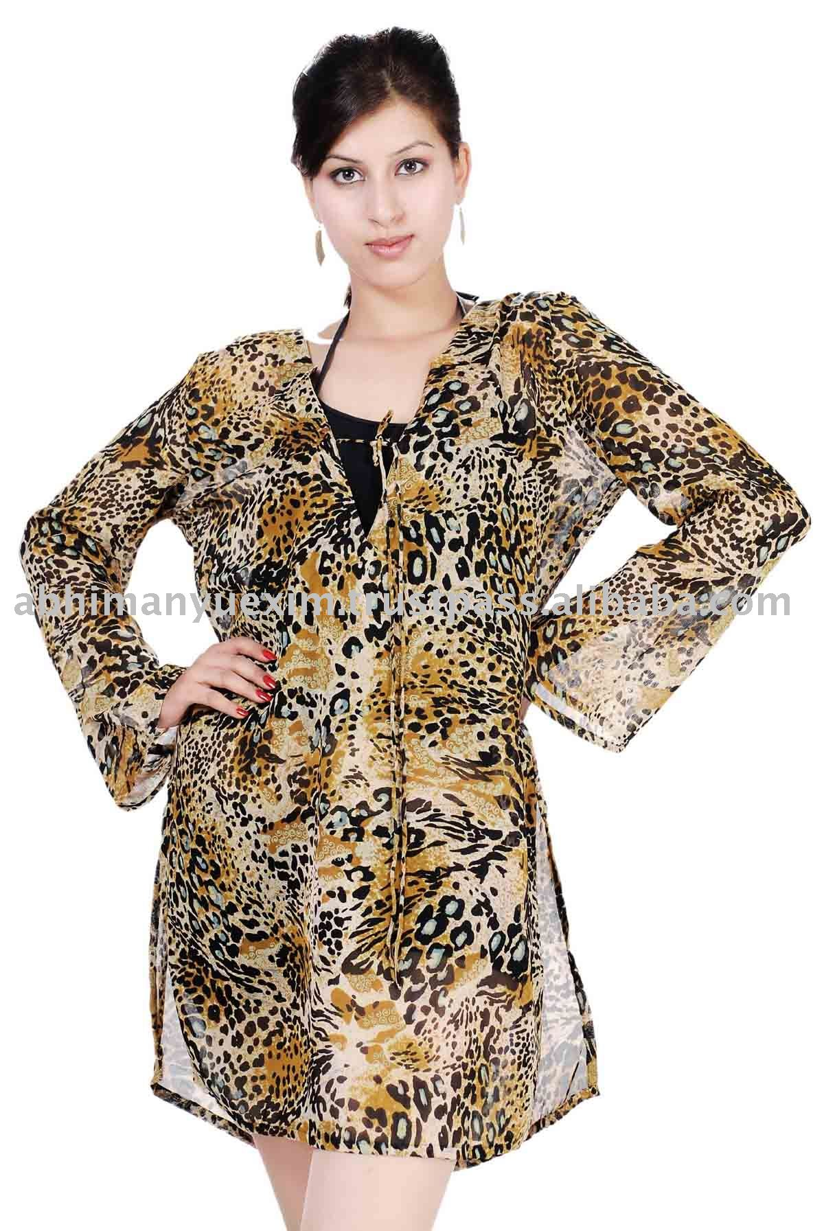 Animal Print Chiffon Beachwear Kaftan