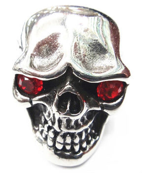 SRM139 2013 stainless steel red evil eyes skull head rings