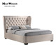 French tufted platform linen upholstered wing bed