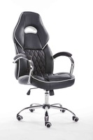 Classic Swivel Black Leather Office Chairs / High Adjustable Executive Chair With Arms / Pu Office Chair Casters GZH-1303