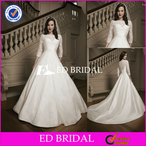Modest Design Bateau Neckline Lace Top Taffeta Long Train Lace 3 4 Sleeve Wedding Dress