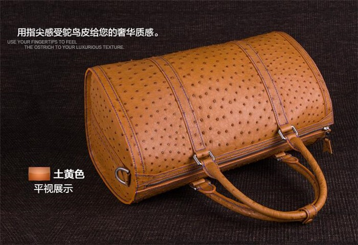 Customize exquisite perfect looking luxury ostrich leather travel duffle bag_10