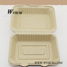 Eco friendly clamshell restaurant sugarcane bagasse containers