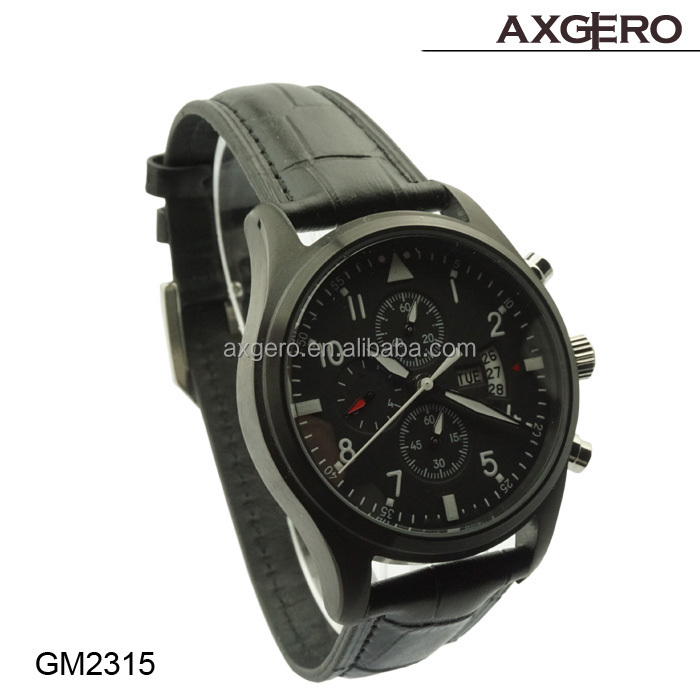 high quality men golf watch 2014 genuine leather sport men watch