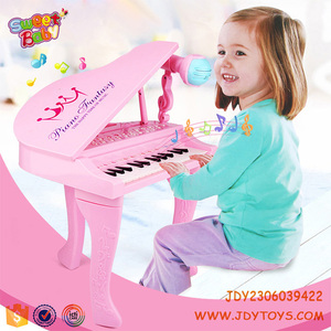 Kids musical toys 25 keyboard plastic electronic piano with microphone