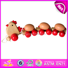 Hot new product for 2015 Kids wooden pull along toy,high quality Children wooden pull toy,hot sale wooden toy pull W05B017-A1