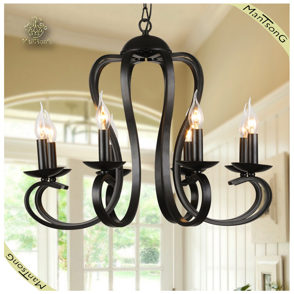 Home Decorative Classic Black Wrought Iron Chandelier