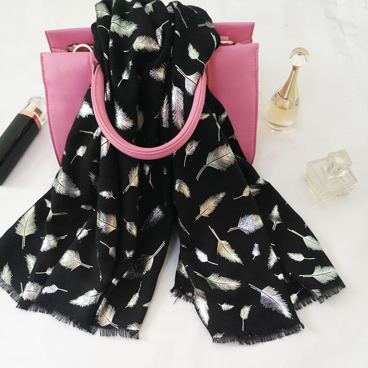 Spring summer woman polyester fashion beach scarf with feather pattern