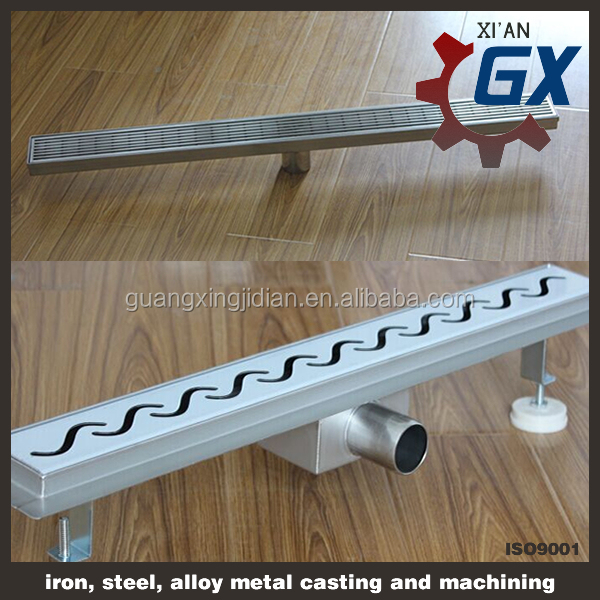 Stainless steel Side outlet linear rectangular drain/linear shower drain/linear floor drainage