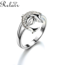New Model Designs Cute Dolphin Animal Jewelry CZ Stone 925 Italian Silver Ring