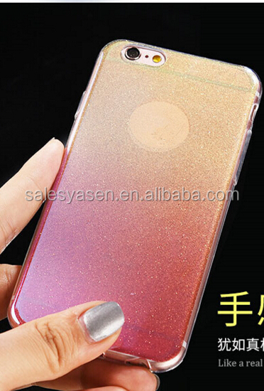 2016 Luxury Ultra Thin Electroplating + Glitter TPU case Soft Mobile Phone Case For iPhone 6 and for iPhone 6 Plus Cover bag