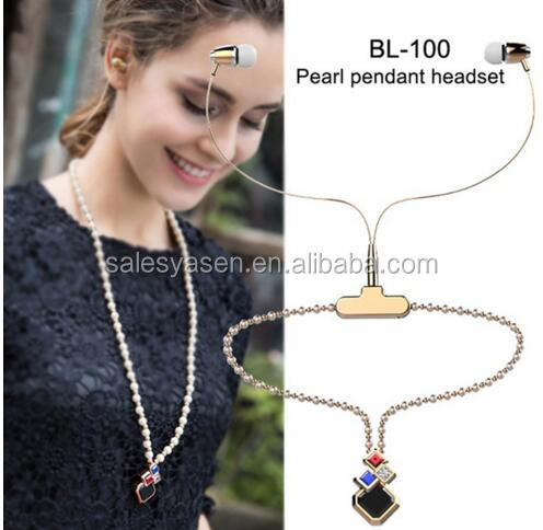 BL-100 Women Fashion Necklace wireless Earphone with Microphone Girl Pearl Necklace Crystal LED Headphone for iPhone Android