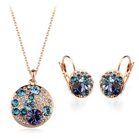 Fashion dulhan jewellery set necklace and earring jewelry set, fashion 18k gold plated jewelry set