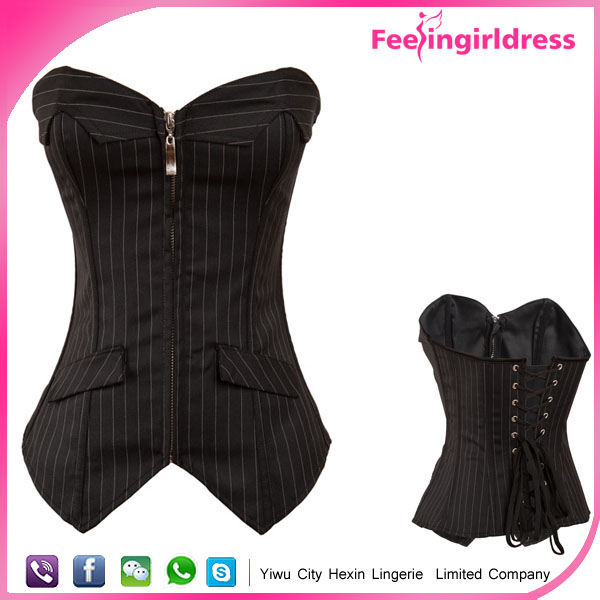 Zipper Sexy Black Vertical Bar Fashion Wholesale High Quality Corset Sexy